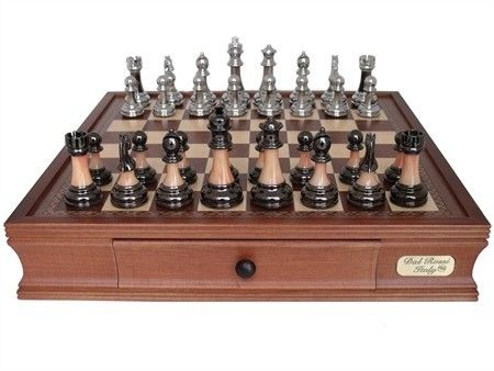 Dal Rossi 40 cm Staunton Metal Marble Finish Chess