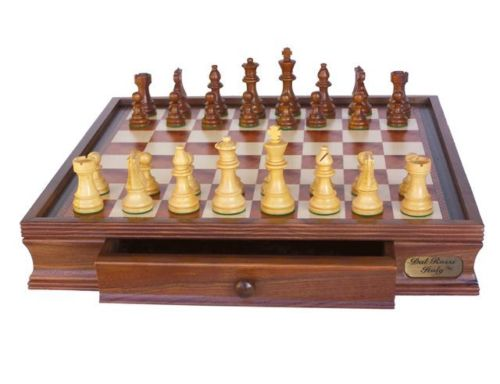 Dal Rossi Chess Set 16″ With Boxwood/Sheesham 85mm pieces Wood Double  Weighted