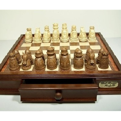 Medieval walnut chess/checkers combination