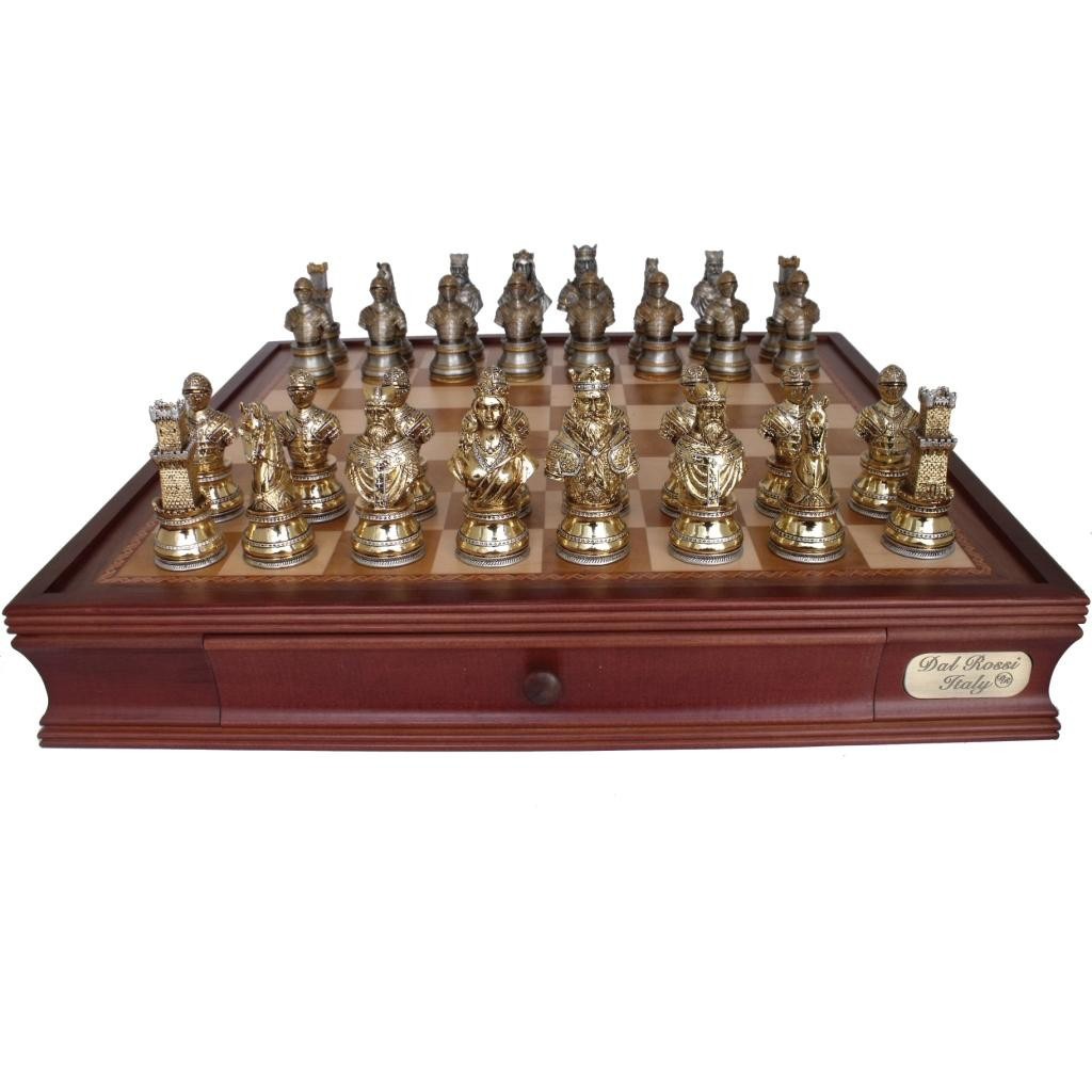 New dal rossi 50 cm medieval warriors chess board game ebay - Medieval times chess set ...