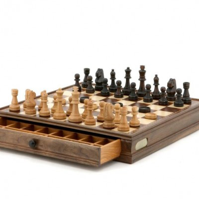 Dal Rossi 38 cm Walnut Chess Checkers