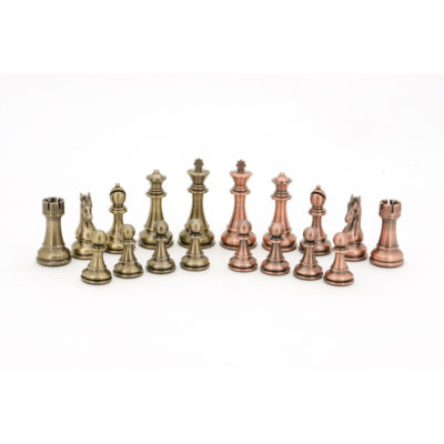 copper and bronze chess pieces